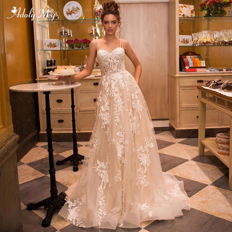 Adoly Mey Gorgeous Appliques Court Train A-Line Wedding Dress 2020 Luxury Spaghetti Straps Beaded Princess Bridal Gown Plus Size