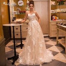 Adoly Mey muhteşem aplikler mahkemesi tren A Line düğün elbisesi 2020 lüks spagetti sapanlar boncuklu prenses gelin kıyafeti artı boyutu