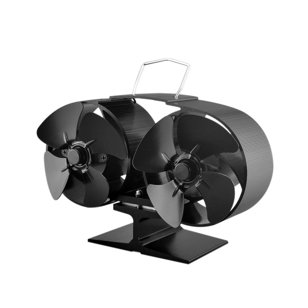 8 Blade Twin Motor Heat Powered Eco Fireplace Fan Fuel Cost Saving Aluminum Stove Fan For Wood Gas Coal Pellet Log Heaters