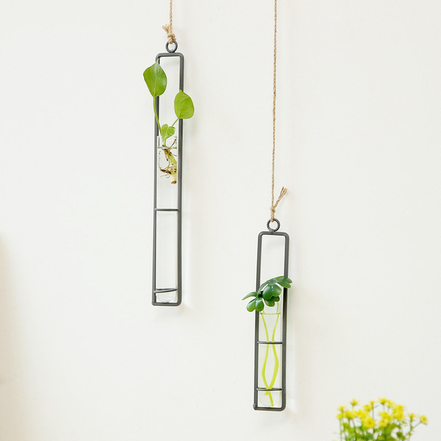 Creative Wall Hanging Flower Vase Iron Glass Hydroponics Planter Pot Transparent Hanging Flower Bottle Home Ornament Decoration 3