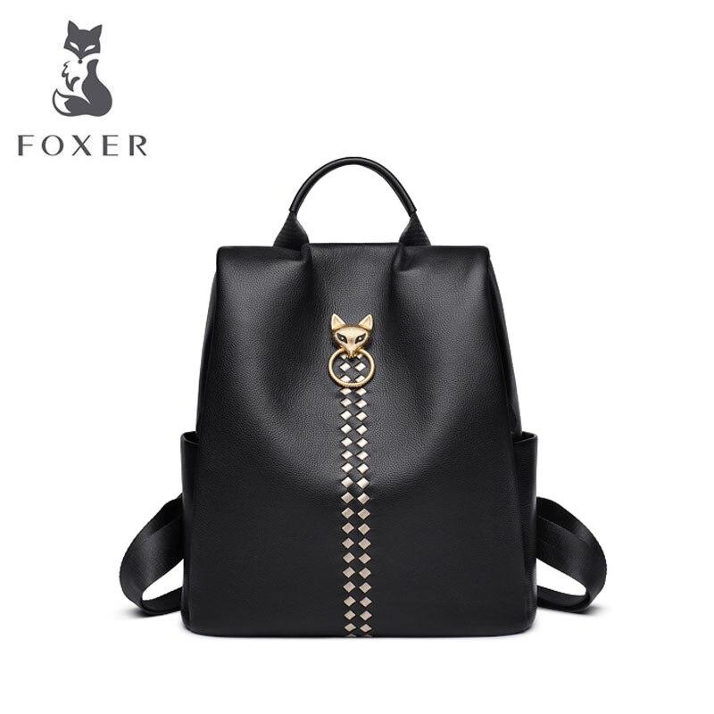 FOXER designer sacs marque célèbre femmes sacs 2019 nouveau sac à dos en cuir véritable grande capacité femmes sac à dos véritable peau de vache sac