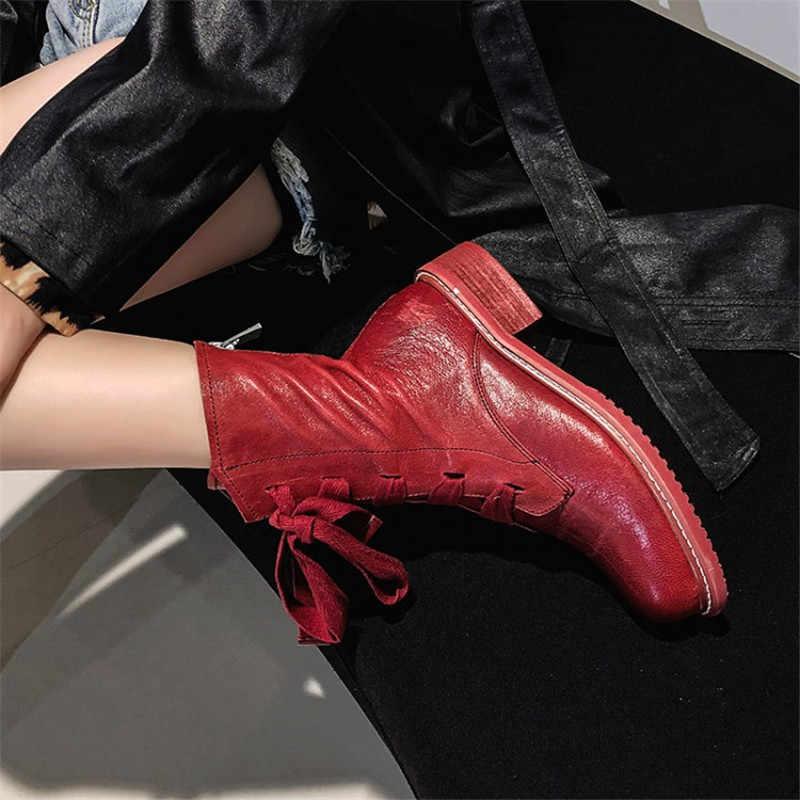 Prova Perfetto marka tasarım kadın çizmeler hakiki deri kısa çizmeler kadın eğlence moda pist gösterisi kadın ayakkabı kışlık botlar