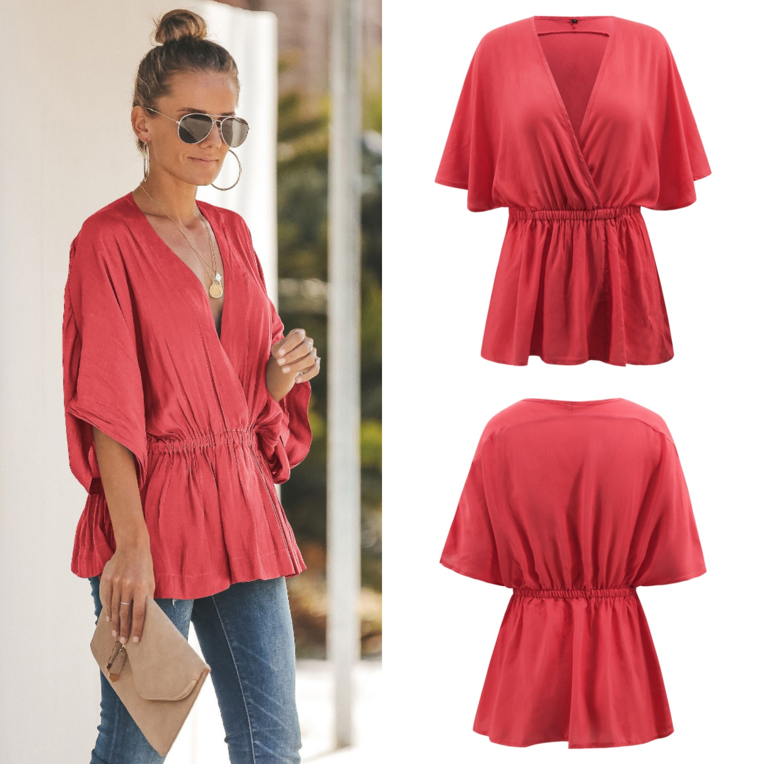2020 spring new loose bat sleeve V-neck shirt top 2162 Casual  US SIZE S-XXL