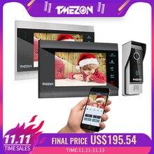 TMEZON sistema de intercomunicación para puerta de 7 pulgadas, inalámbrico, Wifi, Vídeo IP inteligente, con 2 monitores de visión nocturna + 1 cámara de timbre impermeable