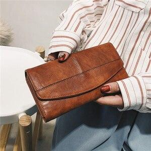Image 1 - Potrójnie składany portfel kobiet długi PU skóra kobiet torebka z uchwytem Hasp kobieta telefon torba dziewczyna posiadacz karty elegancki pokrowiec