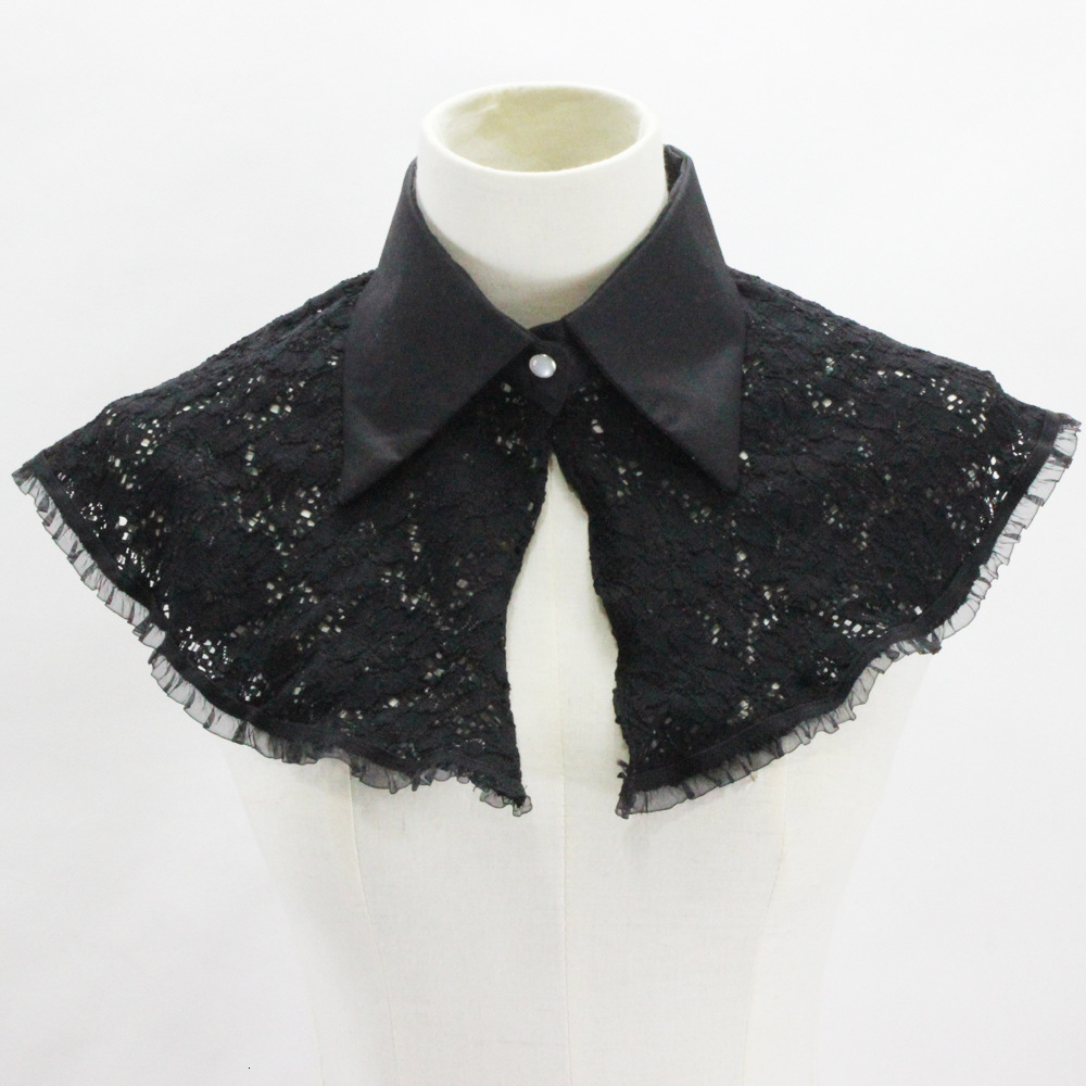 Black Tip Lead Lace Dickie Shawl Camisole Vest Decoration Detachable Fake Collar