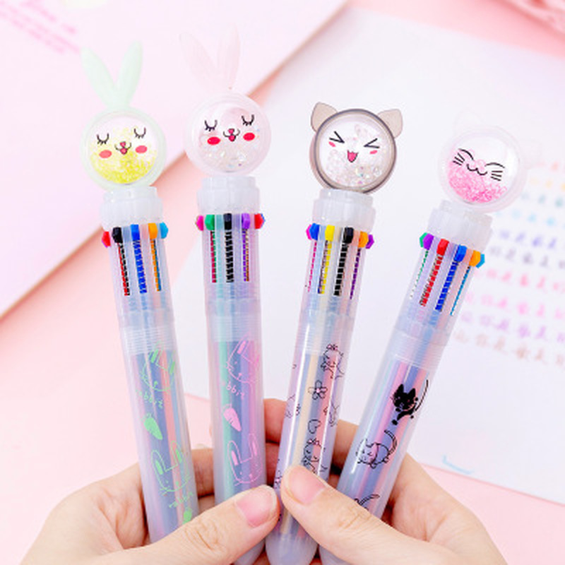 1pcs Crystal Diamond Ten Color Ballpoint Pen Novelty Cute Gel Pens Student Stationery Cute Writing Pens Kawaii School Supplies