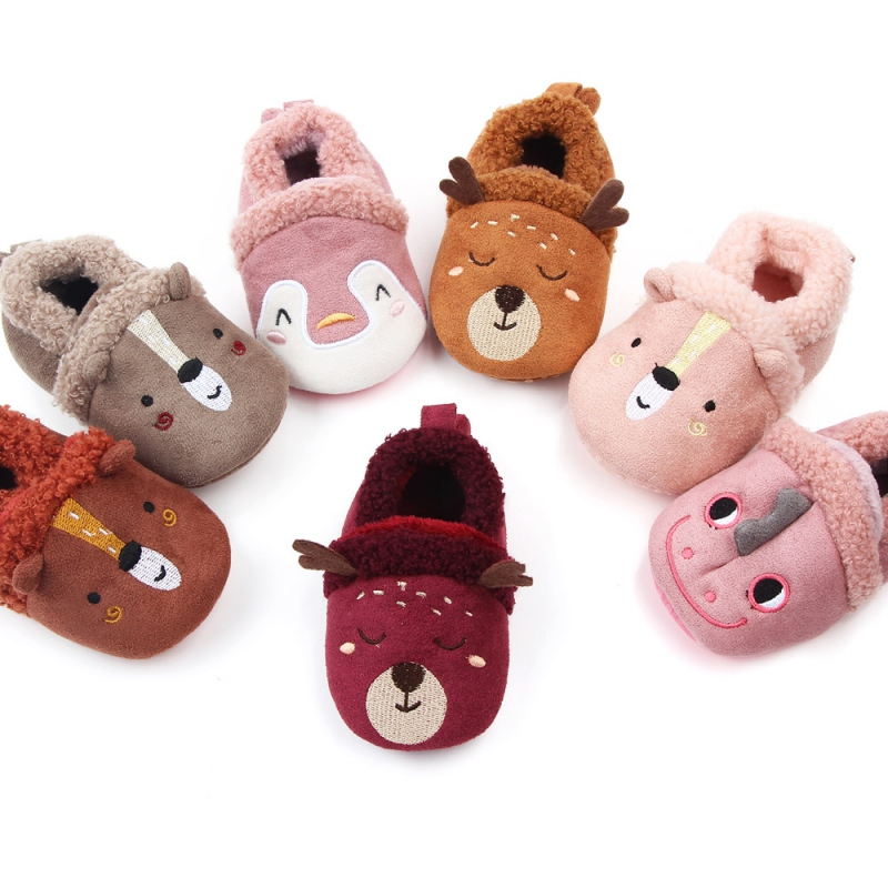 Infant Baby Girl Boy Anti-slip Shoes Cartoon Animals Newborn Slipper Shoes Winter Warm First Walkers 0-18 Months