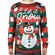 Funny Snowman Printed Ugly Christmas T Shirt for Adult Men Cute Long Sleeve Men's Striped Ugly Xmas T-Shirt Plus Size ngr ugly animals