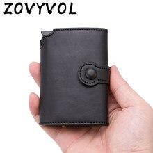 Zovyvol 2021 homens botão titular do cartão de crédito de alta qualidade metal alumínio auto pop-up rfid id caso do cartão preto carteira moeda bolsa