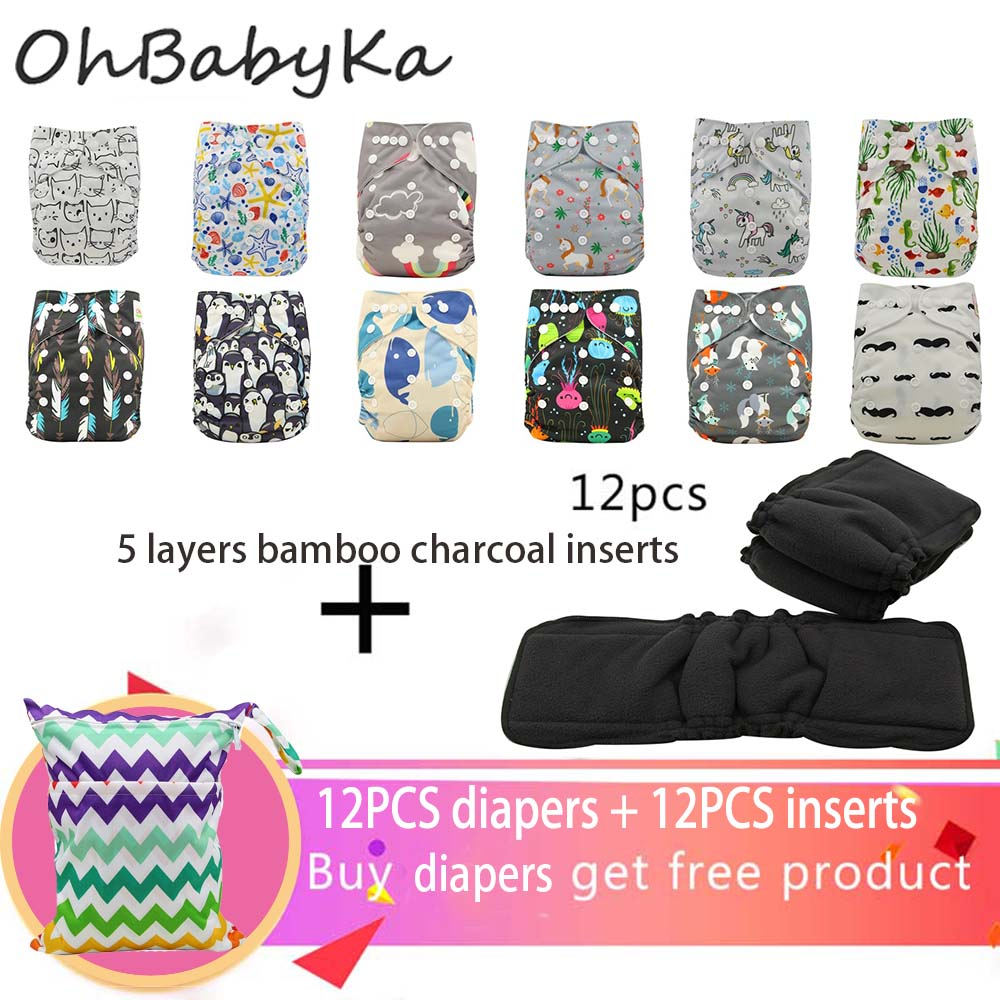 Ohbabyka 25PCS/PACK Washable Cloth Diaper Cover Adjustable Reusable Unicorn Nappy Reusable Cloth Diapers Cloth Nappy Fit 3-15kg