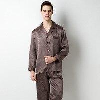 Men's 100% Silk Printed 2PCS Sleepwear Set Sexy Men Pajamas Long Sleeve Single Breasted Nightwear Sleep Suit Home Clothing