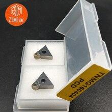 2 шт. TNMG160404 PCD поликристаллическое алмазное лезвие твердосплавная вставка алюминиевое лезвие токарный станок с ЧПУ Режущий инструмент токарный инструмент