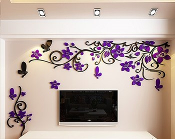 DIY Removable Vinyl Flower Wall Sticker Modern Decals For Wall Decor TV Background Decoration Mural Wallpaper For Living Room 12