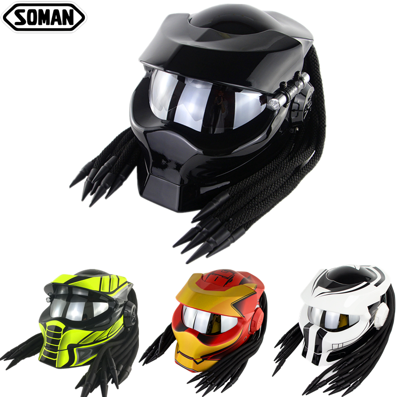 SOMAN Predator Helmet Retro Casque Black Full Face Motorcycle Helmet Custom Cool Motorbike Flip Up Capacetes Iron Man Helmets