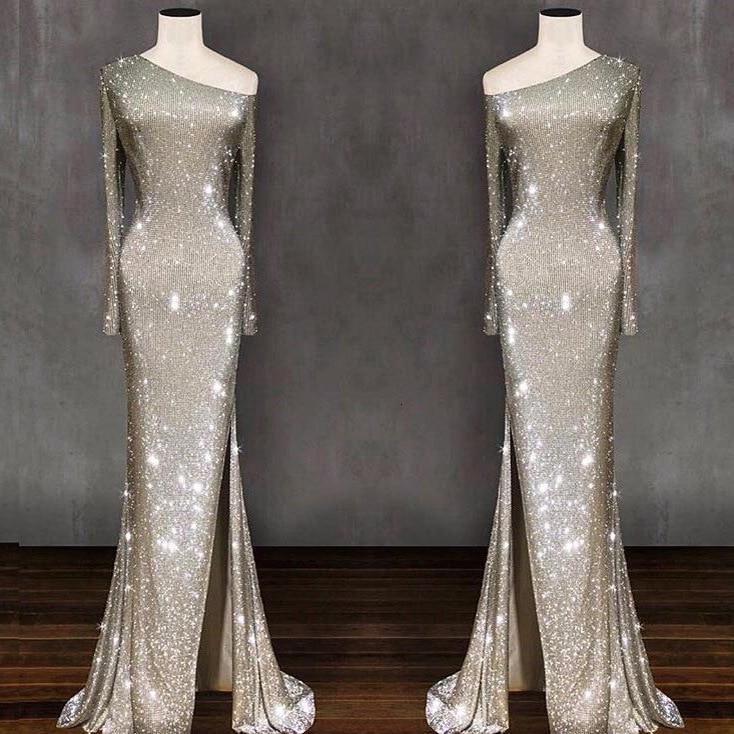 BacklakeGirls Sexy une épaule pleine manches asymétrie étincelant longue Sequin robe de soirée longueur de plancher formelle dames robe