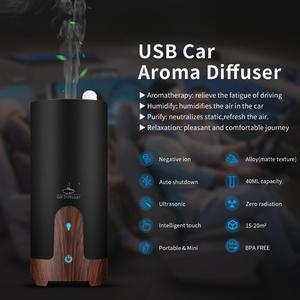 Image 2 - GX. מפזר קולי אדים רכב USB חיוני שמן מפזר סגסוגת מכונית המיני ארומה מפזר ערפל יצרנית עם LED מנורה