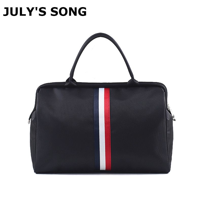 Women Overnight Weekend Traveling Bag Ladies Stripe Handbag Big Travel Bag Light Luggage Men Foldable Duffle Bags Korean