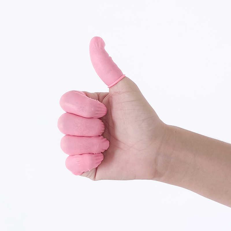 50/100 Pcs Sekali Pakai Pink Lateks Karet Jari Tempat Tidur Bayi Anti-Static Ujung Jari Pelindung Sarung Tangan untuk Pembersihan Makanan Memasak aksesoris