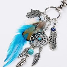 Dream Catcher With Green Beads Key Ring Buckle Pendant Silver Tone Feathers Tassels Keychain For Gift(China)