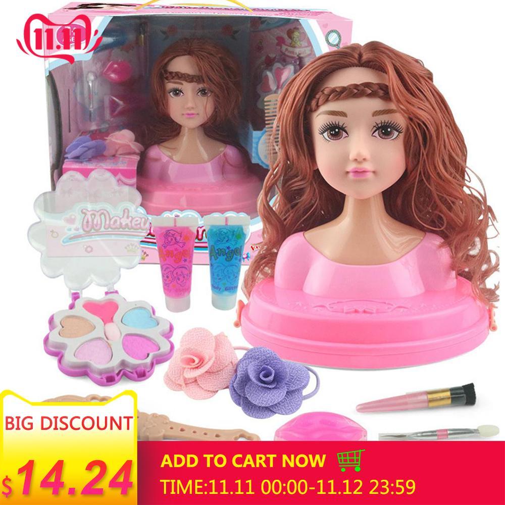 Children's Dressing Makeup Simulation Dolls Girls Pretend Play Toys Dress Up Combs Hair Braiding Dresser Princess Girls Toys