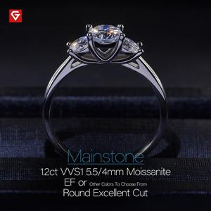 Image 3 - GIGAJEWE Moissanite 1.2ct 5.5mm + 2X4.0mm yuvarlak kesim EF renk 925 gümüş yüzük altın çok katmanlı kaplama kız arkadaşı noel hediyesi