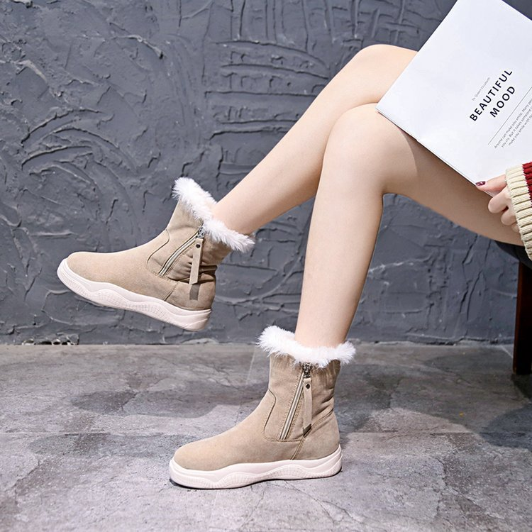 Koznoy Women Boots Short Tube Frosted Leather Dropshipping Fall Winter Plus Velvet Warm Fashion Breathable Slip Cotton Shoes in Ankle Boots from Shoes