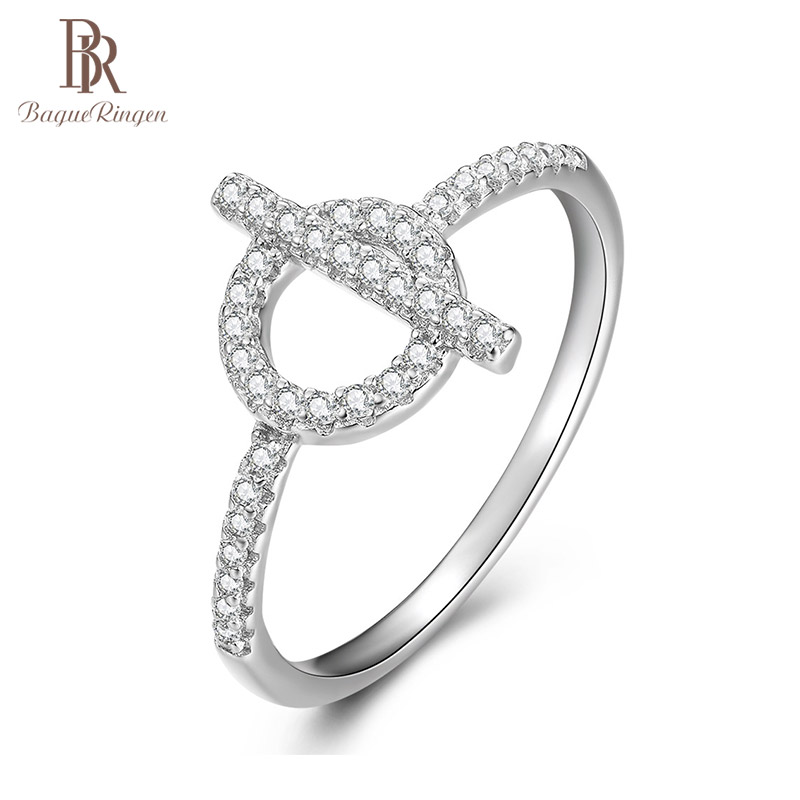 Bague Ringen Classic Sterling Silver 925 Ring Jewelry AAA Zircon Diamond Finger Ring Female Dating Party Birthday Gift Wholesale