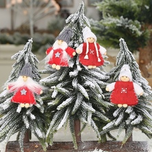 2PCS Knitted Wooden Doll Christmas Pendants Decorative Hanging Ornaments Festive Season Indoor Decorations Adornos De Navidad