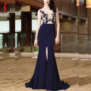 Image 1 - IDress yüksek kalite kadınlar zarif dantel nakış uzun elbise seksi Backless bölünmüş Mermaid akşam Maxi elbise balo parti kıyafeti