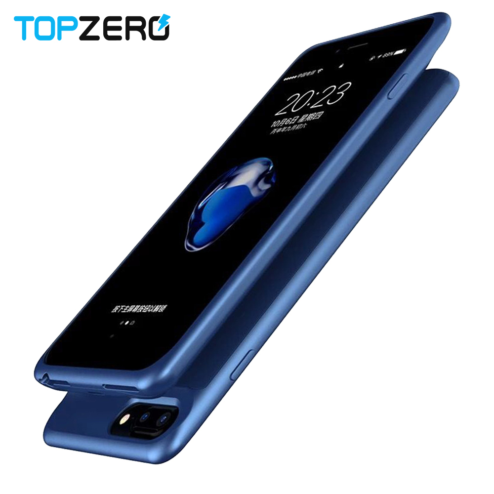 Topzero Power Bank Charger Case For Apple IPhone 6 6S 7 8 Back Clip Battery Case Cover TPU+PC 2500/5000mah Charging Cases Capa