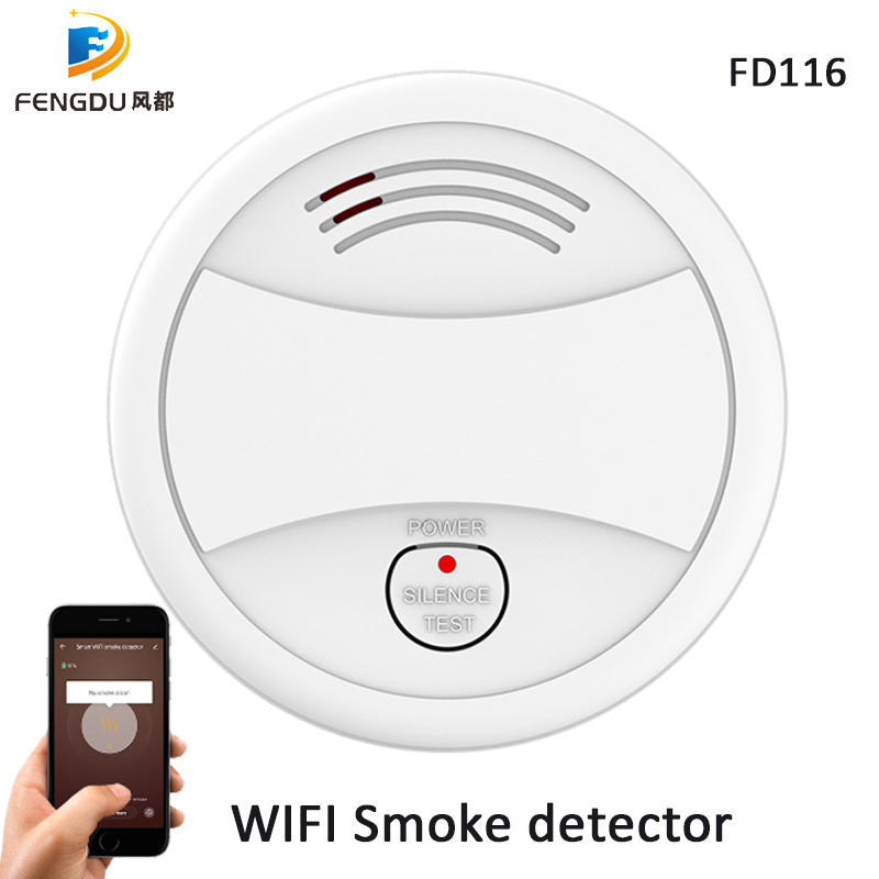 2pcs WIFI Smoke Detector Tuya APP Fire Alarm Sensor Independent Smoke Alarm Protection Android IOS Remote Control