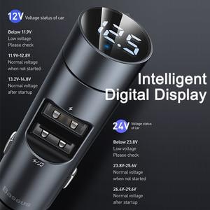 Image 3 - Baseus araba şarjı Bluetooth kablosuz fm verici modülatör 3.1A çift USB araç şarj cihazı cep telefonu iphone şarj cihazı Samsung