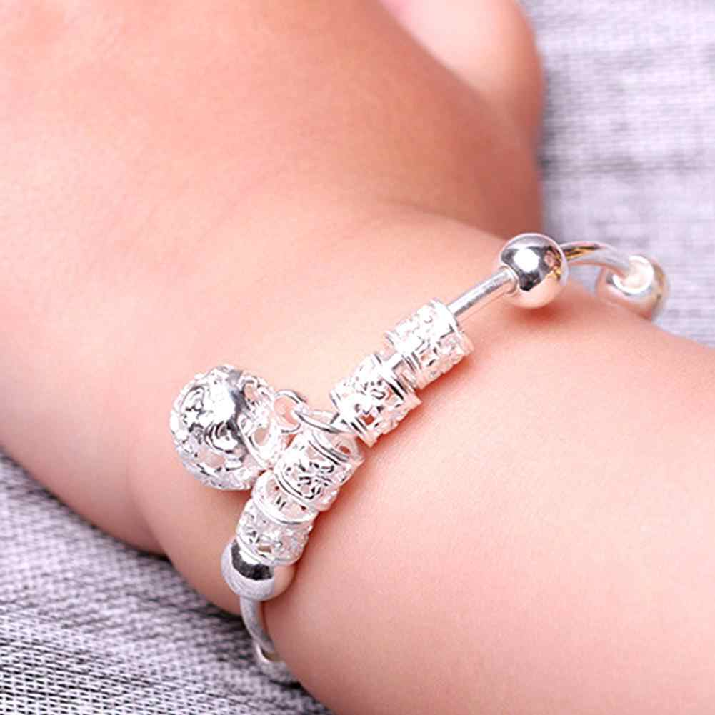 2X Small Bell Silver Plated Kid Child Baby Childrens Jewelry  bangle Bracelet