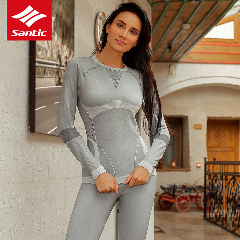 Santic Long Sleeve Women Underwear Jersey Sets Winter Keep Warm MTB Mountain Bike Jersey Pants Sets Quick Dry Bicycle Clothing