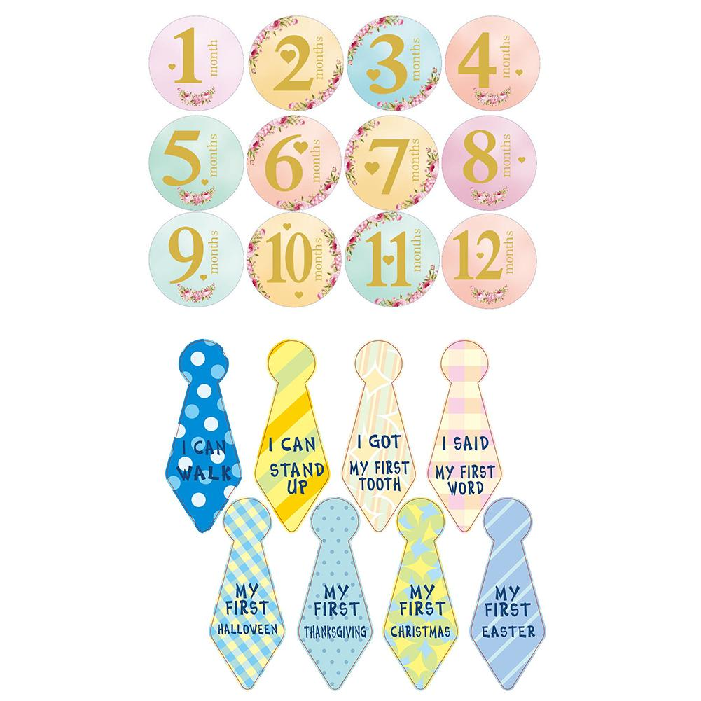 Durable Baby Month Stickers Delicate Design 20pcs 1-12 Monthly Baby Photograph Sticker Newborn Month Number Cards Decoration