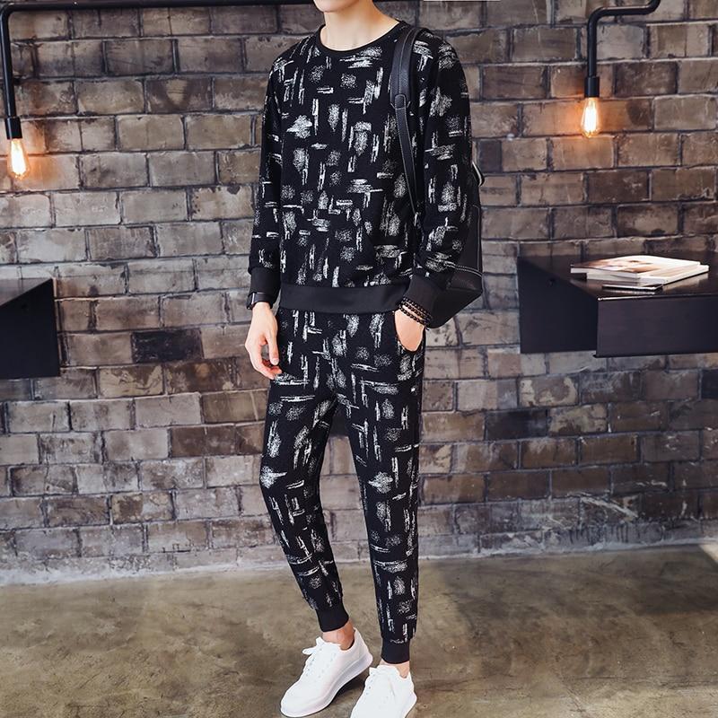 Fancy Track Suit Autumn Thin Two Piece Set Men Jogginganzug Herren Moda Print Sweatsuit Ropa Hombre