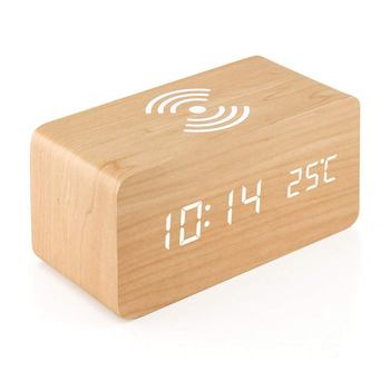 HOT-Wooden Alarm Clock With Qi Wireless Charging Pad Compatible With For Iphone Samsung Wood Led Digital Clock Sound Control Fun