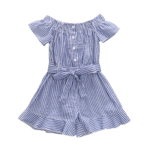 1-6T Baby Girl Jumpsuit Blue Stripes Romper Short Sleeve Button Shirt Jumper Ruffled Trousers One Piece Outfits with Belt
