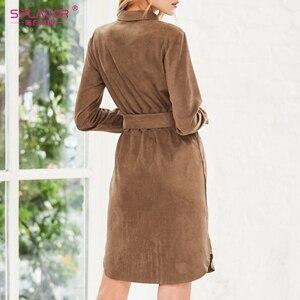 Image 2 - S.FLAVOR 가을 겨울 여성 스웨이드 셔츠 드레스 빈티지 긴 소매 사무 작업 드레스 우아한 여성 솔리드 무릎 길이 드레스
