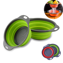 Silicone Folding Drain Basket Kitchen Gadgets Storage Tools Creative Retractable Fruit Vegetable Colander Accessories