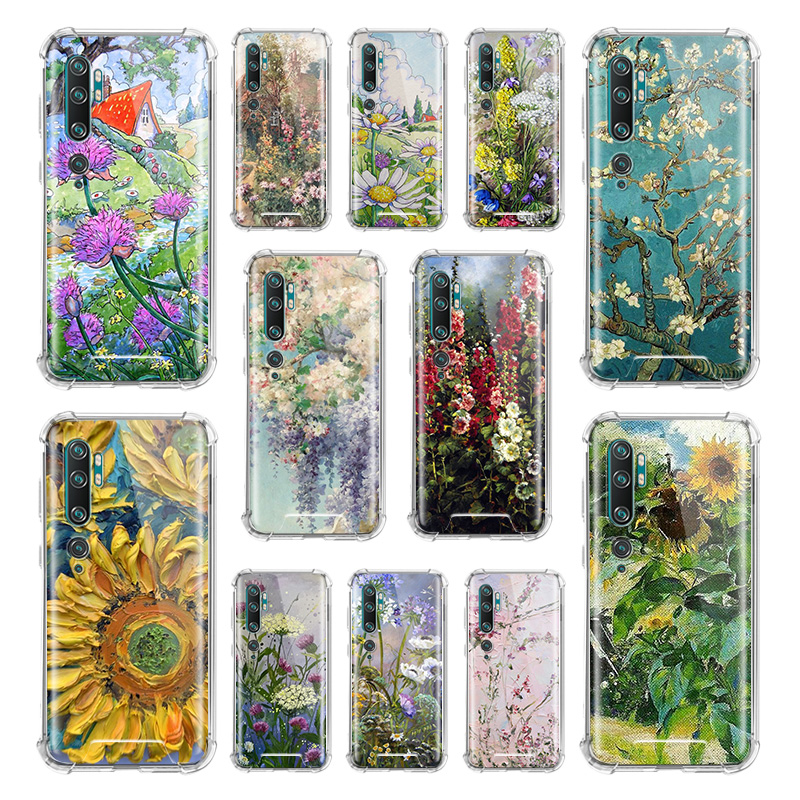 Daisy Flowers Van Gogh Case For Xiaomi Mi Note 10 9 CC9 9T Pro 5G CC9E 8 A2 Lite X2 F1 Airbag Anti Fall TPU Phone Coque