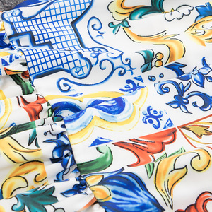 Image 3 - SEQINYY ロングスカート 2020 春秋の新ファッションデザインの女性ホワイト磁器の花フリルプリントスカートベルト