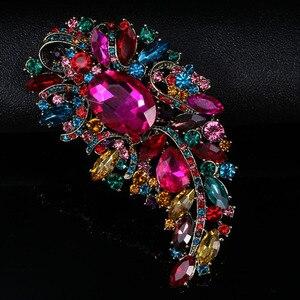 Ювелирные изделия zlxgirl большой размер кристалл цветок свадебные броши ювелирные изделия Винтаж шарф шпильки модная женская одежда булавки ...