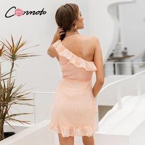 Image 5 - Conmoto Vestido corto informal de lunares, vestido de gasa con volantes y un solo hombro sin mangas para mujer para fiesta de verano 2019