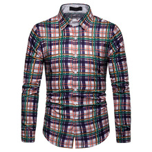 Plaid Shirt, Mens Long-sleeved Striped Man. Men Autumn Printing Shirt  Dress Shirts