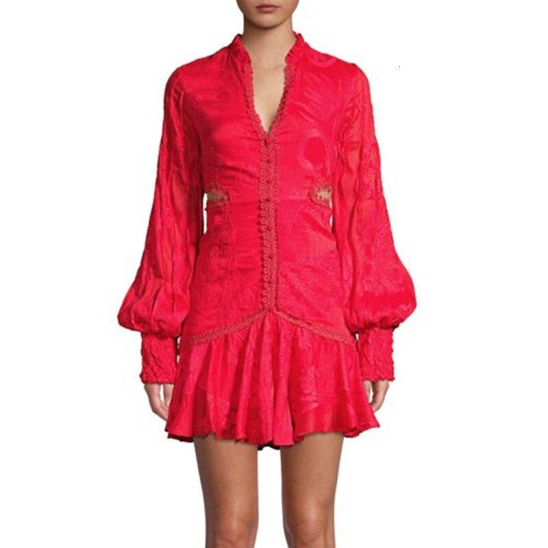 Nouveau magasin signe sexy rosée taille col en v lanterne manches de nouveau fonds d'hivers lourd broderie robe blanche femme - 2