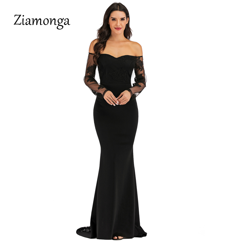 Elegant Lace Long Mermaid Evening Maxi Dress