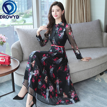 Chiffon Printed Midi Dress for Women Autumn Boho Long Sleeve Slim Casual Elegant High Waist Holiday Party Dresses Vestidos