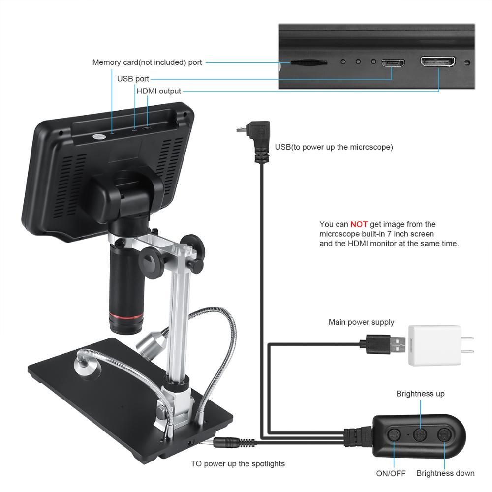 Image 3 - Andonstar 3D цифровой/HDMI микроскоп с 7 дюймов ЖК дисплей для мобильного телефона ремонт паяльный инструмент + регулируемое большое поле обзора:-in Микроскопы from Инструменты on AliExpress